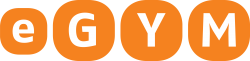 4 orange rounded corner buttons with the letters eGym, the eGym logo