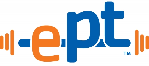 orange lowercase e and blue lowercase p and t is the new logo for electronic personal training programs