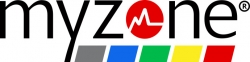 myzone logo, black letters spell out my zone with a red circle for the o in zone and grey, blue, green, yellow and red rectangles under zone